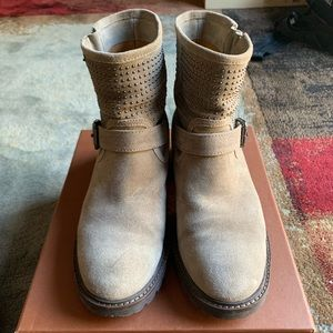 Coach Gates Studded Grey Suede Motorcycle Boots